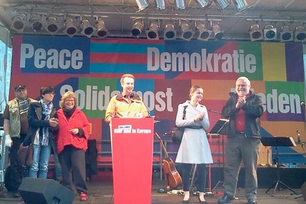 Antikriegstag Hamburg, 01.09.14 Zaklin Nastic, Hartmut Obens, Martin Dolzer, Inge Hannemann